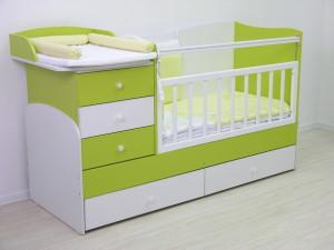 кровать 1400 белый-лайм