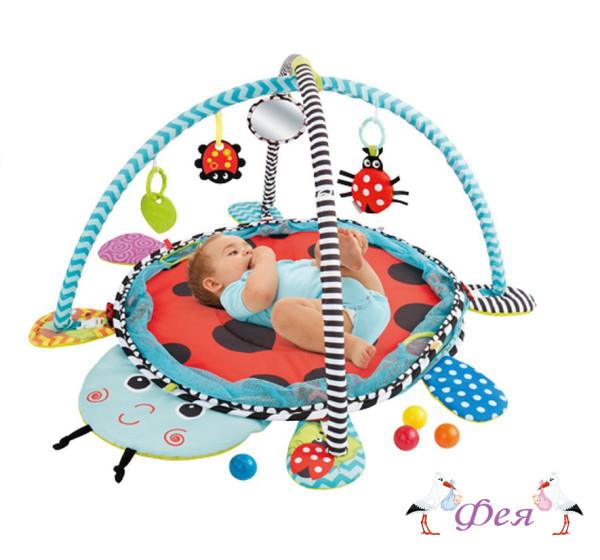 Развивающий коврик Божья Коровка 3 в 1 с шариками_2