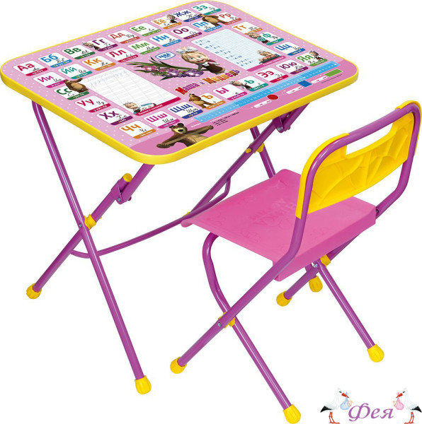 КПУ1 Комплект «Маша и медведь» (стол+стул пластиковый) КПУ1_3 азбука 3