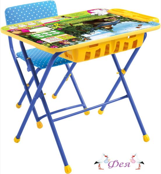 КУ2П Комплект «Маша и медведь» (стол+большой пенал+стул мягкий) КУ2П_5 ловись рыбка