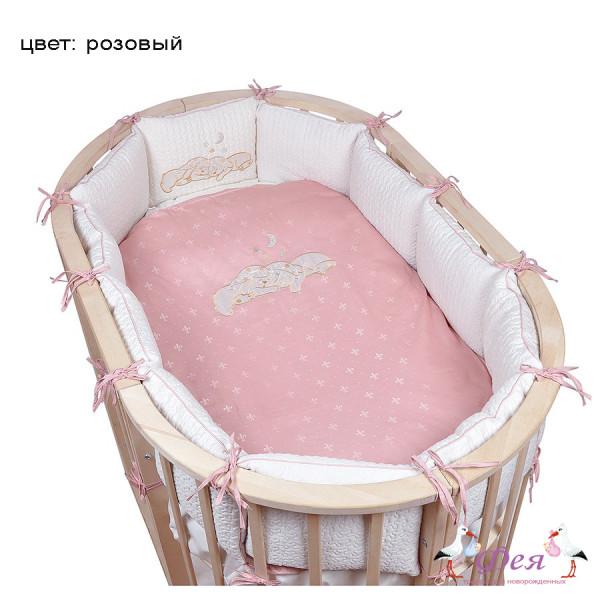 для овальной кроватки 6пр звездочка розовый