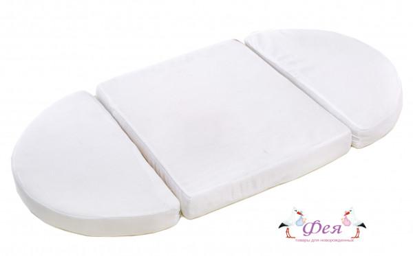 Матрас составной из трех частей для круглой и овальной кроватки холо-кокос 125_75_10 c 125