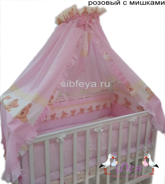 100Б9 7 пр розовый с мишками