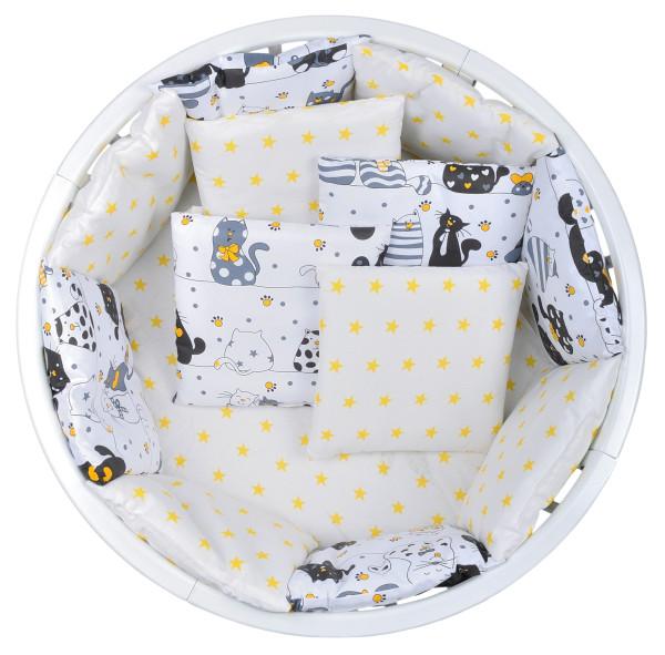 Комплект в кроватку 17 предметов, В17 бязь коты жёлтый_2